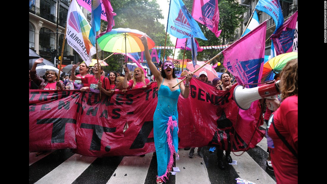 Participants march in the 25th gay pride parade in Buenos Aires, Argentina, on November 26, 2016. While Argentina and Uruguay lead South America when it comes to LGBT rights, activists continue to fight against homophobia and hate crimes.