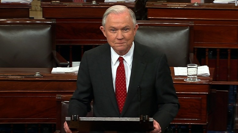 Sessions bids farewell to Senate after vote.