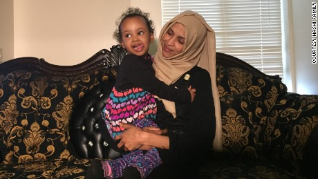Nimo Hashi hopes her husband will be able to meet their 2-year-old daughter on Friday.