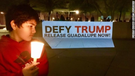 Demonstrators gathered outside an ICE office in Phoenix, Arizona, Wednesday