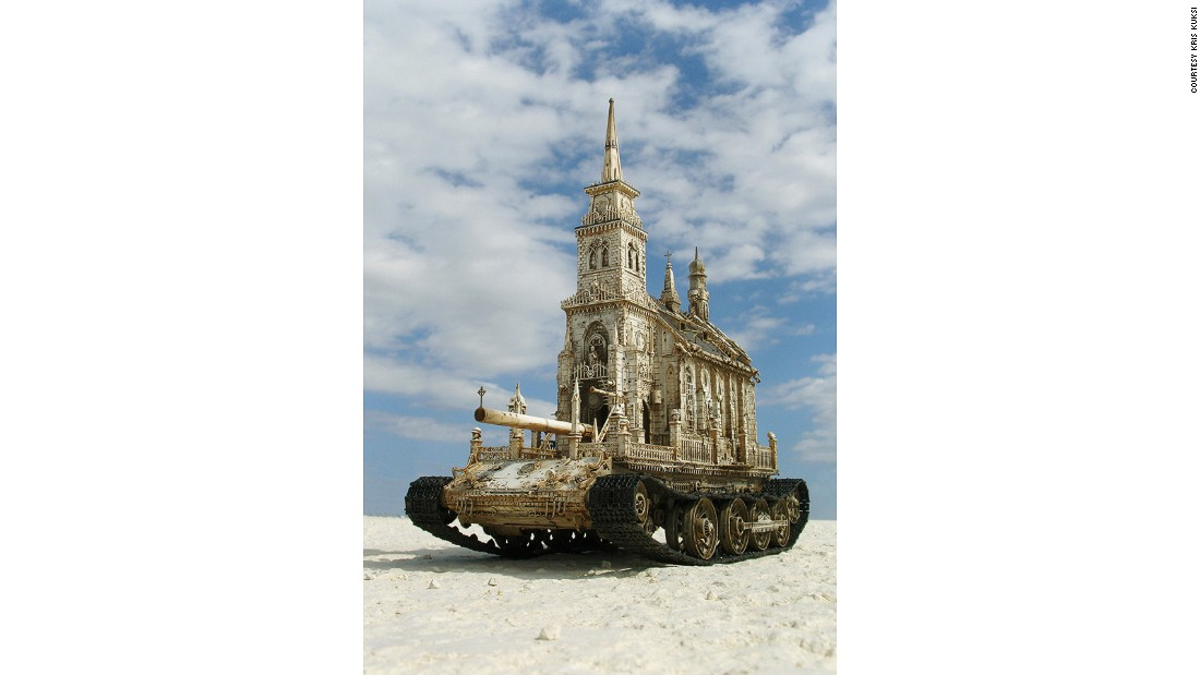 "With ""Churchtank Type 7C,"" American artist Kris Kuksi seems to make a statement about religion, war and destruction."