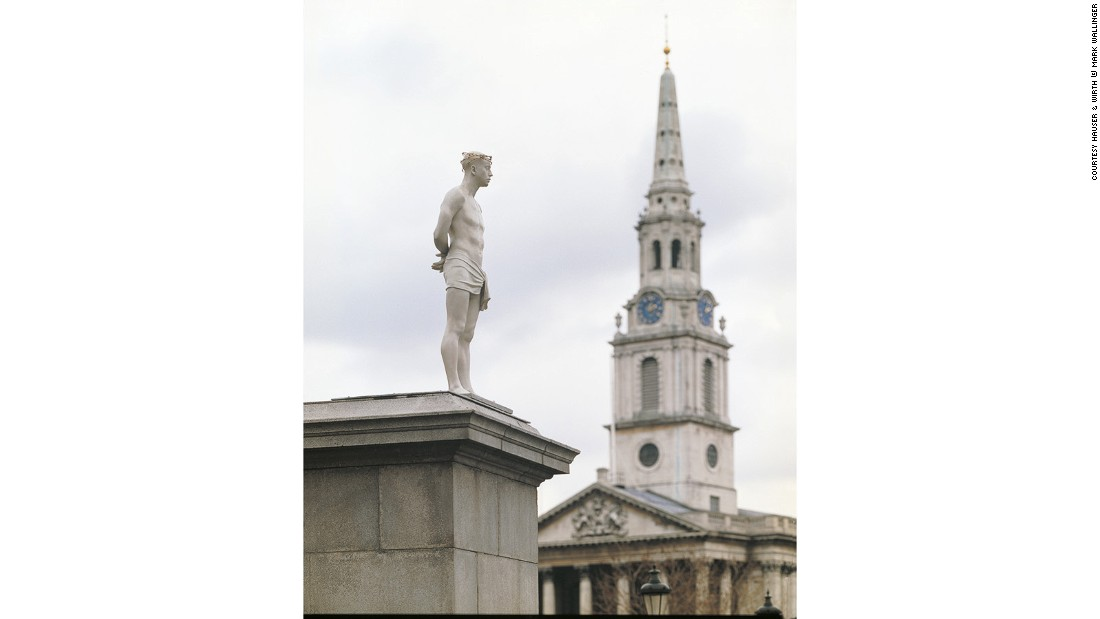 """Ecce Homo,"" depicting Christ with a crown of barbed wire, was erected atop the fourth plinth in Trafalgar Square in 1999. The title refers to Pontius Pilate's words when he presented Christ to the crowds before his death."