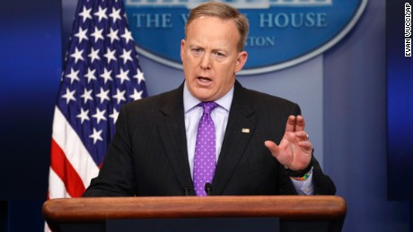 White House press secretary Sean Spicer speaks during the daily press briefing, Wednesday, February 8, 2017, at the White House in Washington.