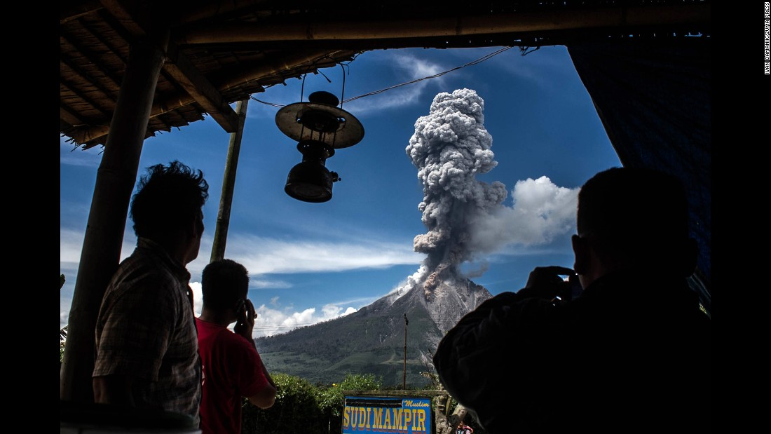 Mount Sinabung releases a cloud of hot ash in Karo, Indonesia, on Saturday, February 4. The volcano last erupted in May.