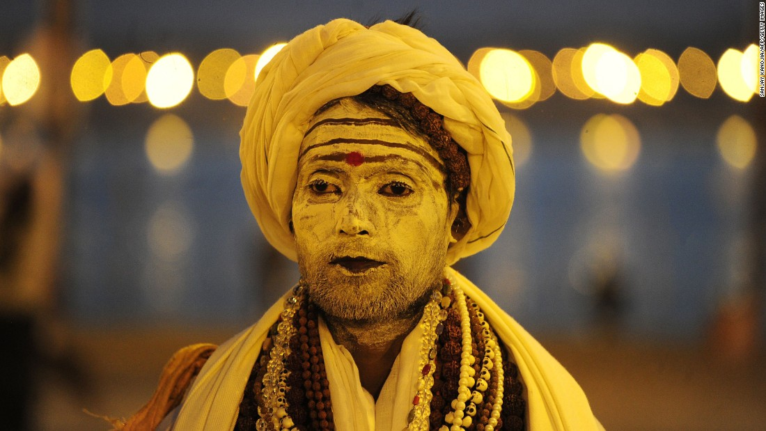 A Hindu holy man attends the Magh Mela festival in Allahabad, India, on Tuesday, February 7.