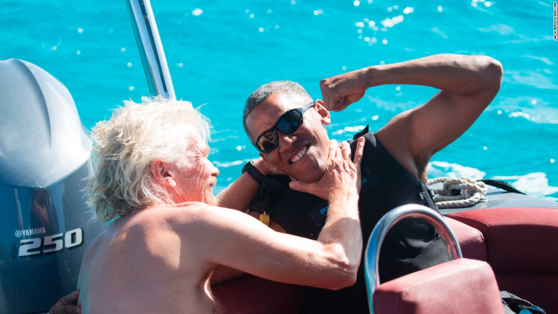 "In this photo released on Tuesday, February 7, billionaire Richard Branson playfully chokes former US President Barack Obama during Obama's recent vacation to the British Virgin Islands. <a href=""http://www.cnn.com/2017/02/07/politics/barack-obama-kitesurfing-richard-branson/"" target=""_blank"">Read more: Obama's kitesurfing adventure</a>"