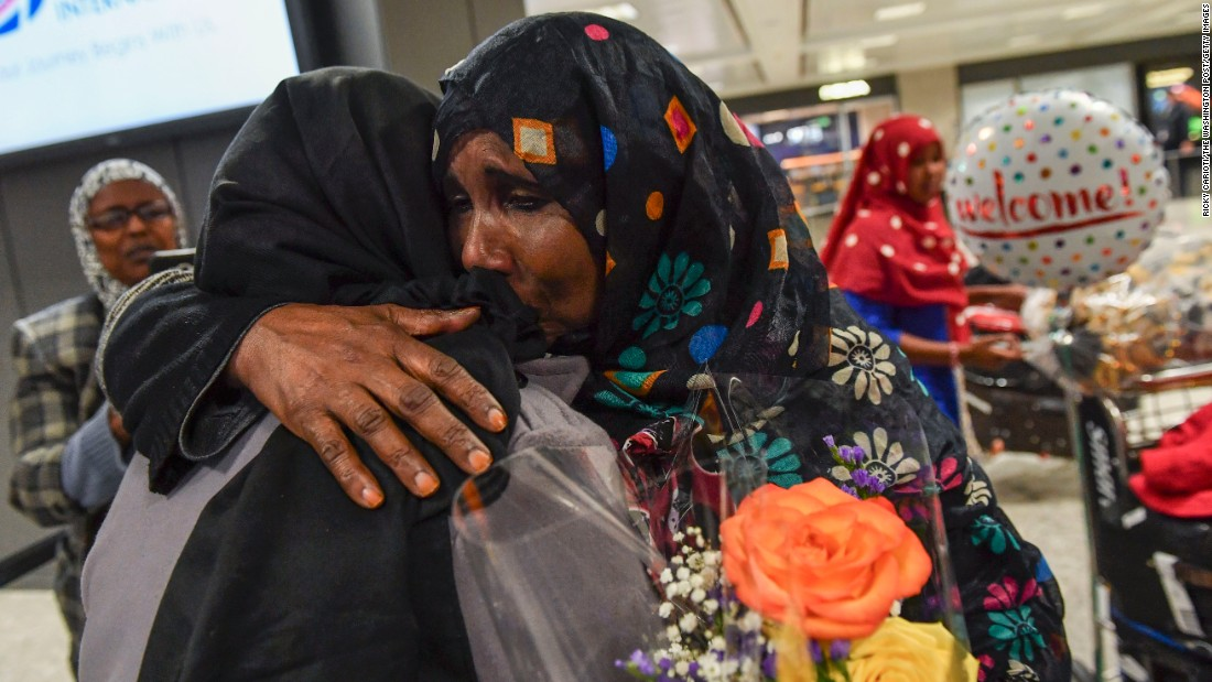 "Zahro Warsma, right, hugs her daughter Roodo Abdinasir after Abdinasir flew into Dulles, Virginia, from Somalia on Monday, February 6. Warsma's three daughters and grandchild were caught up in last week's travel ban before a federal judge <a href=""http://www.cnn.com/2017/02/03/politics/federal-judge-temporarily-halts-trump-travel-ban-nationwide-ag-says/index.html"" target=""_blank"">temporarily blocked its enforcement. </a>"