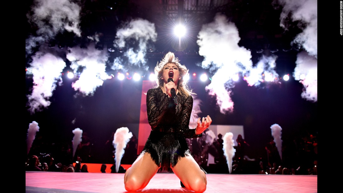 Pop star Taylor Swift performs at a concert in Houston on Saturday, February 4.