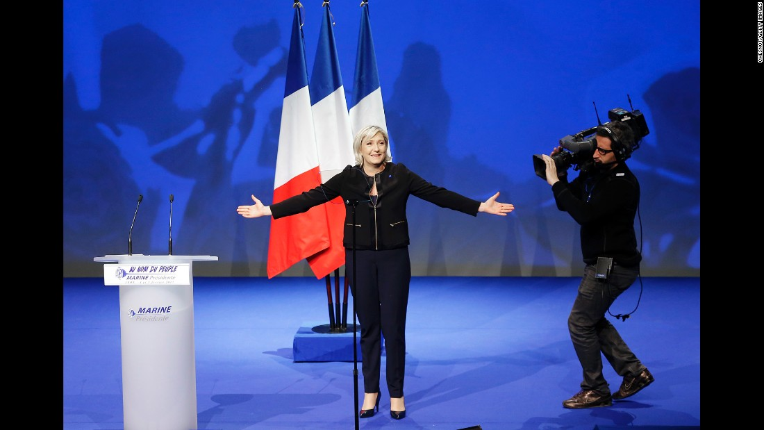 """<a href=""""http://www.cnn.com/2017/02/01/europe/marine-le-pen-profile/"""" target=""""_blank"""">Marine Le Pen,</a> a French presidential candidate who leads the far-right National Front party, attends a rally in Lyon, France, on Sunday, February 5. Her father, Jean-Marie, founded the party in 1972."""