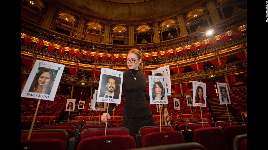 A staff member marks out the seating plan at London's Royal Albert Hall ahead of the EE British Academy Film Awards, which will be held on Sunday, February 12.