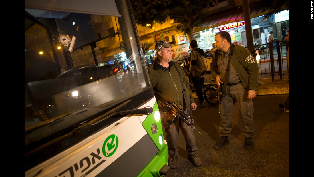 "A bullet hole is seen on a bus' windshield after a Palestinian man <a href=""http://www.cnn.com/2017/02/09/middleeast/israel-petach-tikvah-attack/"" target=""_blank"">went on a shooting and stabbing attack</a> at a marketplace in Petah Tikva, Israel, Israeli authorities said on Thursday, February 9. At least eight people were hurt in what police are calling a terrorist incident."