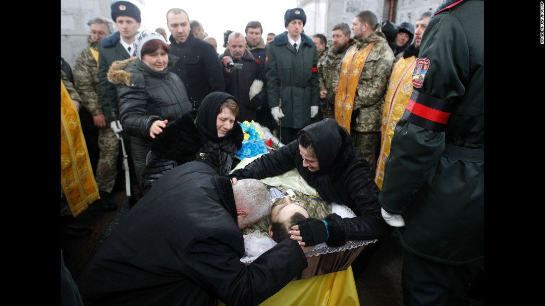"People in Kiev, Ukraine, pay their final respects to Ukrainian serviceman Leonid Dergach on Friday, February 3. He was killed in eastern Ukraine, where <a href=""http://www.cnn.com/2017/01/31/europe/ukraine-fighting/"" target=""_blank"">fighting has been escalating</a> between pro-Russian rebels and the Ukrainian armed forces."