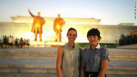 Cassie De Pecol in North Korea with her tour guide. She came to the country on a three-day organized tour with a Chinese tour group based out of Beijing.