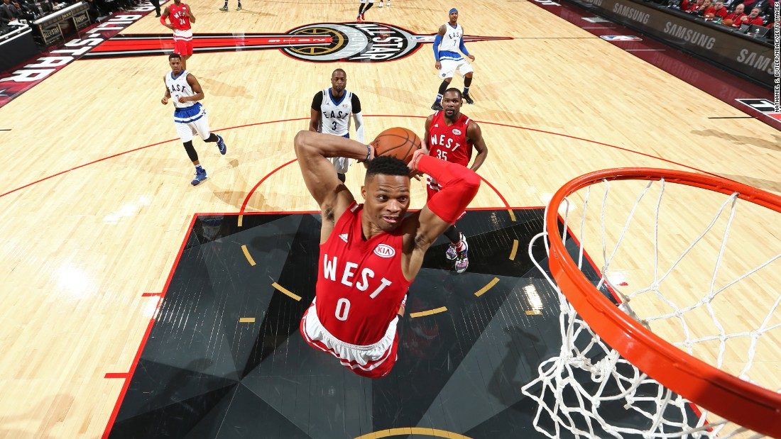 Russell Westbrook throws down a dunk during the 2016 NBA All-Star Game. He was the Most Valuable Player in what was the highest-scoring All-Star Game of all time. The two teams combined for 369 points as the Western Conference won 196-173. A year later, that record was broken when the West won again 192-182. Total points: 374.