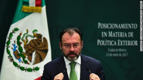 "Mexican Foreign Minister Luis Videgaray gives a foreign policy speech after US President Donald Trump vowed to start renegotiating North American trade ties, in Mexico City on January 23, 2017.  Trump's vows to scrap the North American Free Trade Agreement to protect US jobs have raised concern in Mexico, which sends most of its exports to the United States. Pena Nieto's office said he congratulated Trump on taking office in a phone call Saturday and that both had agreed to open a ""new dialogue."" / AFP / RONALDO SCHEMIDT        (Photo credit should read RONALDO SCHEMIDT/AFP/Getty Images)"