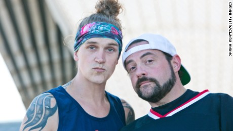 SYDNEY, AUSTRALIA - SEPTEMBER 18:  Kevin Smith and Jason Mewes (aka Jay and Silent Bob) pose during a media call at Sydney Opera House on September 18, 2015 in Sydney, Australia.  (Photo by Sarah Keayes/Getty Images)