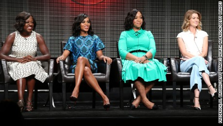 Actresses Viola Davis, Kerry Washington, executive producer Shonda Rhimes and actress Ellen Pompeo speak onstage during the 'Grey's Anatomy,' 'Scandal,' and 'How To Get Away With Murder' panel discussion at the ABC Entertainment portion of the 2015 Summer TCA Tour at The Beverly Hilton Hotel on August 4, 2015 in Beverly Hills, California.
