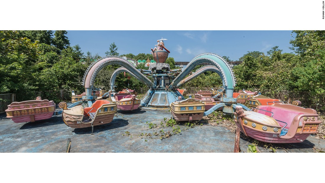 His images of an abandoned theme park in Japan stand out amongst his collection.