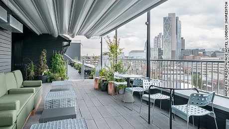 Ace Hotel: The rooftop terrace bar offers views over the East London skyline.