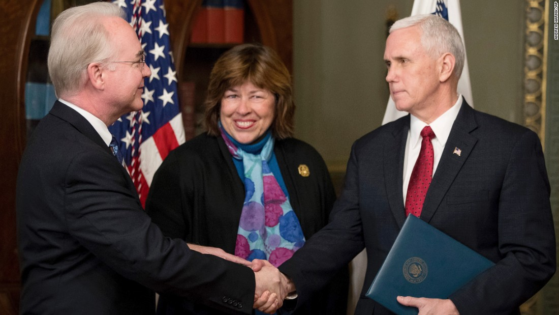 "Vice President Mike Pence, right, shakes hands with Health and Human Services Secretary Tom Price -- accompanied by his wife, Betty -- after Price's swearing-in ceremony on Friday, February 10. Price, a former congressman from Georgia, <a href=""http://www.cnn.com/2017/02/09/politics/tom-price-confirmation-vote/"" target=""_blank"">was confirmed 52-47</a> in a middle-of-the-night vote along party lines."
