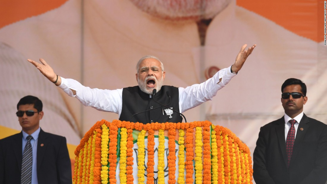 Popular Indian Prime Minister Narendra Modi won a landslide victory in the national elections in 2014.