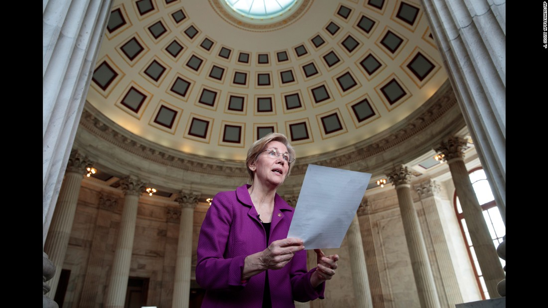 "US Sen. Elizabeth Warren holds a transcript of her speech in the Senate Chamber after she was cut off during the debate over Attorney General-designate Jeff Sessions on Wednesday, February 8. In an extremely rare rebuke, Senate Majority Leader Mitch McConnell <a href=""http://www.cnn.com/2017/02/07/politics/elizabeth-warren-mitch-mcconnell/"" target=""_blank"">silenced Warren</a> after he determined that she violated a Senate rule against impugning another senator. Warren was reading from a 1986 letter in which Coretta Scott King, the widow of Martin Luther King Jr., was critical of Sessions -- who at the time was a nominee to be a federal judge."