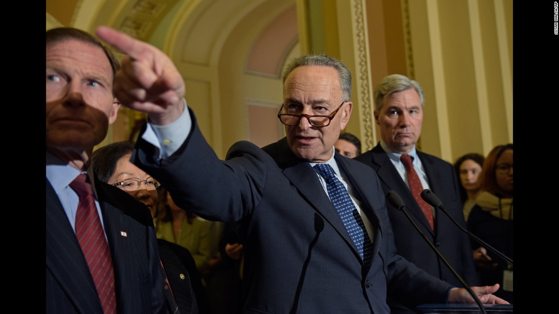 "Senate Minority Leader Chuck Schumer calls on a reporter during a news conference in Washington on Tuesday, February 7. Schumer <a href=""http://www.cnn.com/2017/02/07/politics/chuck-schumer-neil-gorsuch/"" target=""_blank"">said he had ""serious, serious concerns""</a> about Supreme Court nominee Neil Gorsuch, whom he met with on Capitol Hill."
