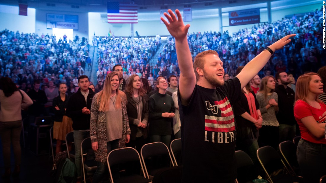 Liberty University students worship before Ed Gillespie, a Republican gubernatorial candidate, addressed them in Lynchburg, Virginia, on Monday, February 6.