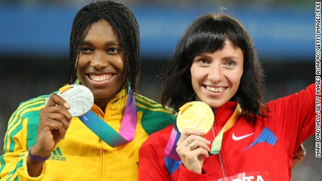 Semenya (left) and Savinova with their medals at the 2011 worlds in South Korea.