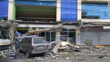 A school building is damaged after a 6.5-magnitude earthquake struck Surigao City in the southern Philippines on Feb. 10, 2017.