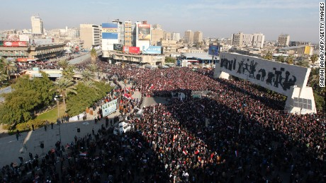 Supporters of Shiite cleric Muqtada al-Sadr demonstrate Saturday in Baghdad's Tahrir Square.