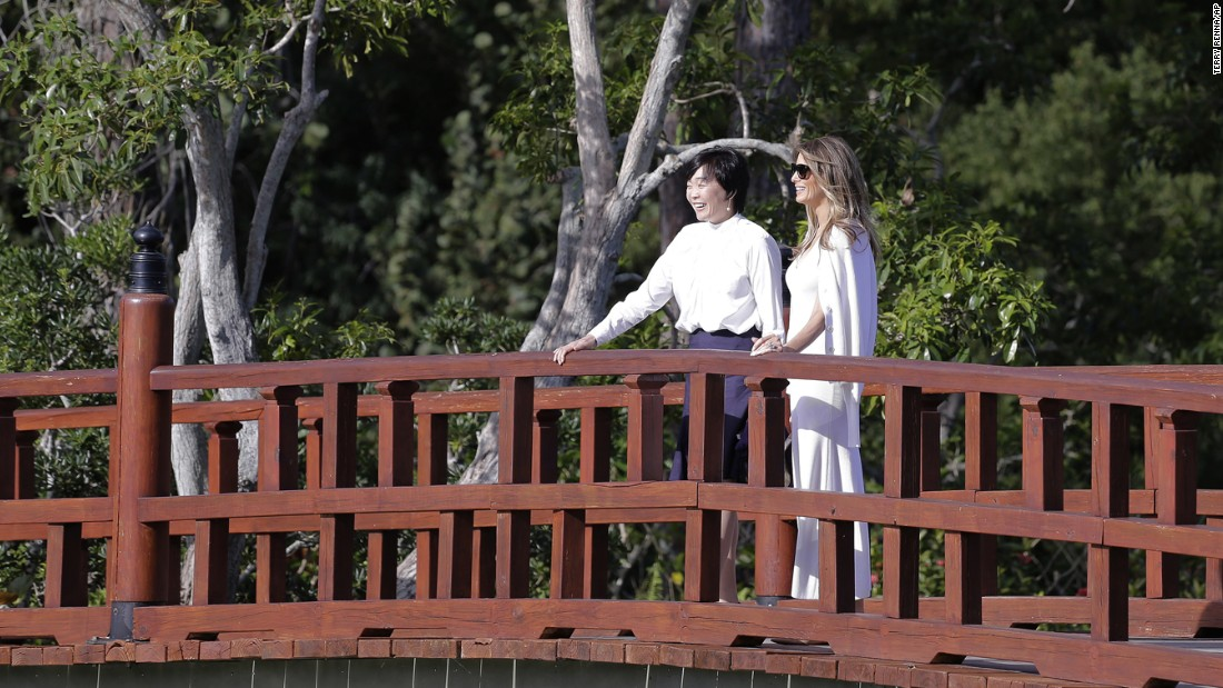 "First lady Melania Trump, right, and Akie Abe, the wife of Japanese Prime Minister Shinzo Abe, <a href=""http://www.cnn.com/2017/02/11/politics/melania-trump-akie-abe-garden-tour-florida/"" target=""_blank"">tour the Morikami Museum and Japanese Gardens</a> in Florida on Saturday, February 11."