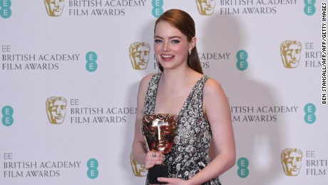 US actress Emma Stone poses with the award for a Leading Actress for 'La La Land' at the BAFTA Awards February 12, 2017.
