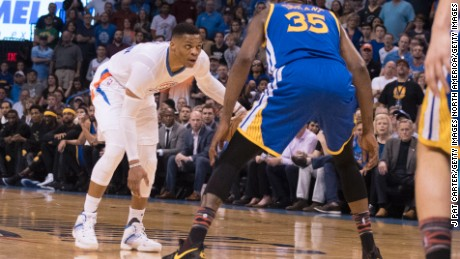 OKLAHOMA CITY, OK - FEBRUARY 11:  Russell Westbrook #0 of the Oklahoma City Thunder and Kevin Durant #35 of the Golden State Warriors face off during the first half of a NBA game at the Chesapeake Energy Arena on February 11, 2017 in Oklahoma City, Oklahoma.   NOTE TO USER: User expressly acknowledges and agrees that, by downloading and or using this photograph, User is consenting to the terms and conditions of the Getty Images License Agreement. (Photo by J Pat Carter/Getty Images)