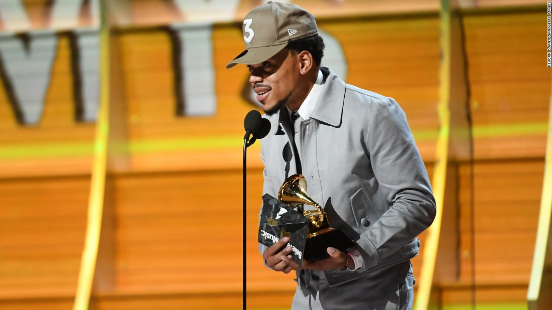 "Chance the Rapper accepts the Grammy Award for best new artist. He also won best rap album for ""Coloring Book"" and best rap performance for ""No Problem."""