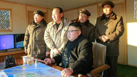 Kim Jong Un monitors the missile launch on Sunday.