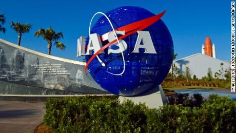NASA logo at the Kennedy Space Center. Florida