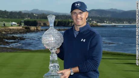 PEBBLE BEACH, CA - FEBRUARY 12:  Jordan Spieth poses with the trophy after winning the AT&T Pebble Beach Pro-Am at Pebble Beach Golf Links on February 12, 2017 in Pebble Beach, California.  (Photo by Jeff Gross/Getty Images)