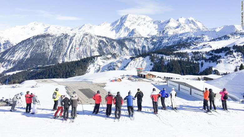 Courchevel: A matter of yards from runway to slopes.