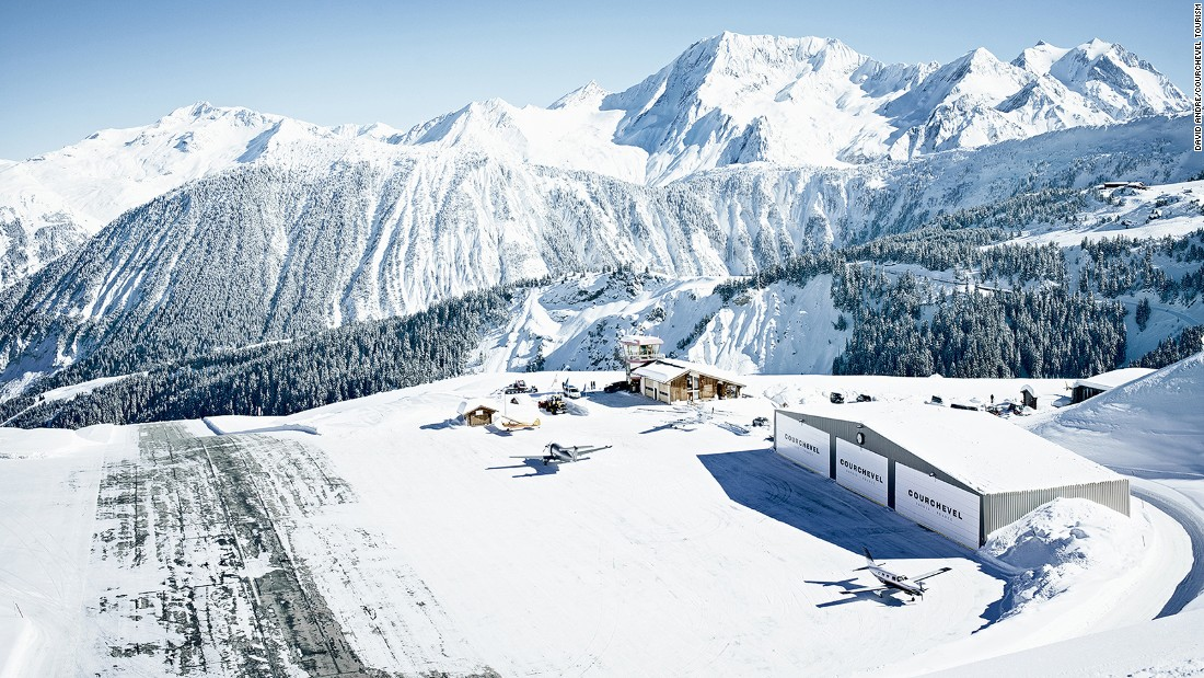 <strong>Courchevel, France: </strong>The private, steeply sloping runway is just yards from the piste, making it a challenging airport approach for pilots and nervous fliers.