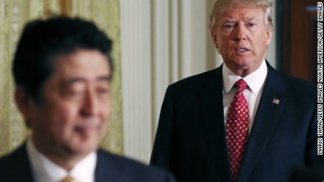 WASHINGTON, DC - FEBRUARY 10:  U.S. President Donald Trump (R) and Japanese Prime Minister Shinzo Abe enter before holding a joint press conference at the White House on February 10, 2017 in Washington, DC. The two answered questions from American and Japanese press.  (Photo by Mario Tama/Getty Images)