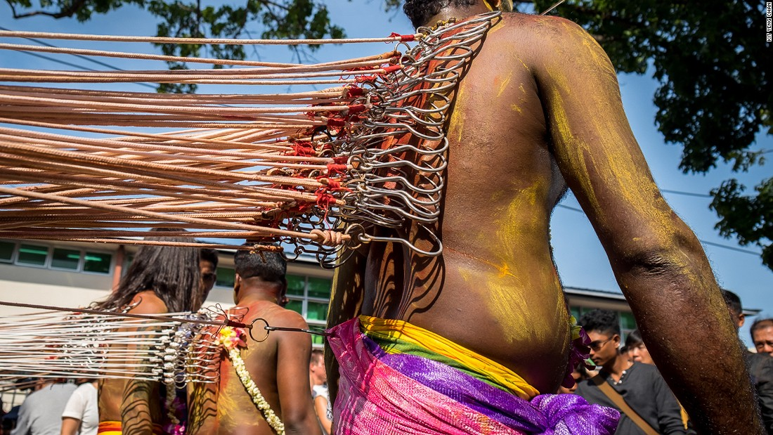 <strong>Thaipusam: </strong>Punk rockers have got nothing on  Thaipusam devotees, seen here with ropes hooked into their bare backs. This wild eight-kilometer procession from George Town to Penang Hill's flanks commemorates the fight between Lord Murugan and the demon Soorapadam.