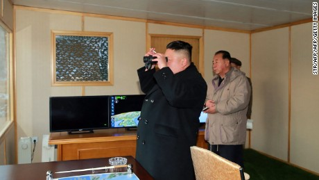 "This photo taken on February 12, 2017 and released on February 13 by North Korea's official Korean Central News Agency (KCNA) shows North Korean leader Kim Jong-Un (C) inspecting the test-launch of a surface-to-surface medium long-range ballistic missile Pukguksong-2 at an undisclosed location. North Korea said on February 13 it had successfully tested a new ballistic missile, triggering a US-led call for an urgent UN Security Council meeting after a launch seen as a challenge to President Donald Trump. / AFP / KCNA via KNS / STR / South Korea OUT / REPUBLIC OF KOREA OUT ---EDITORS NOTE--- RESTRICTED TO EDITORIAL USE - MANDATORY CREDIT ""AFP PHOTO/KCNA VIA KNS"" - NO MARKETING NO ADVERTISING CAMPAIGNS - DISTRIBUTED AS A SERVICE TO CLIENTS / THIS PICTURE WAS MADE AVAILABLE BY A THIRD PARTY. AFP CAN NOT INDEPENDENTLY VERIFY THE AUTHENTICITY, LOCATION, DATE AND CONTENT OF THIS IMAGE. THIS PHOTO IS DISTRIBUTED EXACTLY AS RECEIVED BY AFP.  /         (Photo credit should read STR/AFP/Getty Images)"