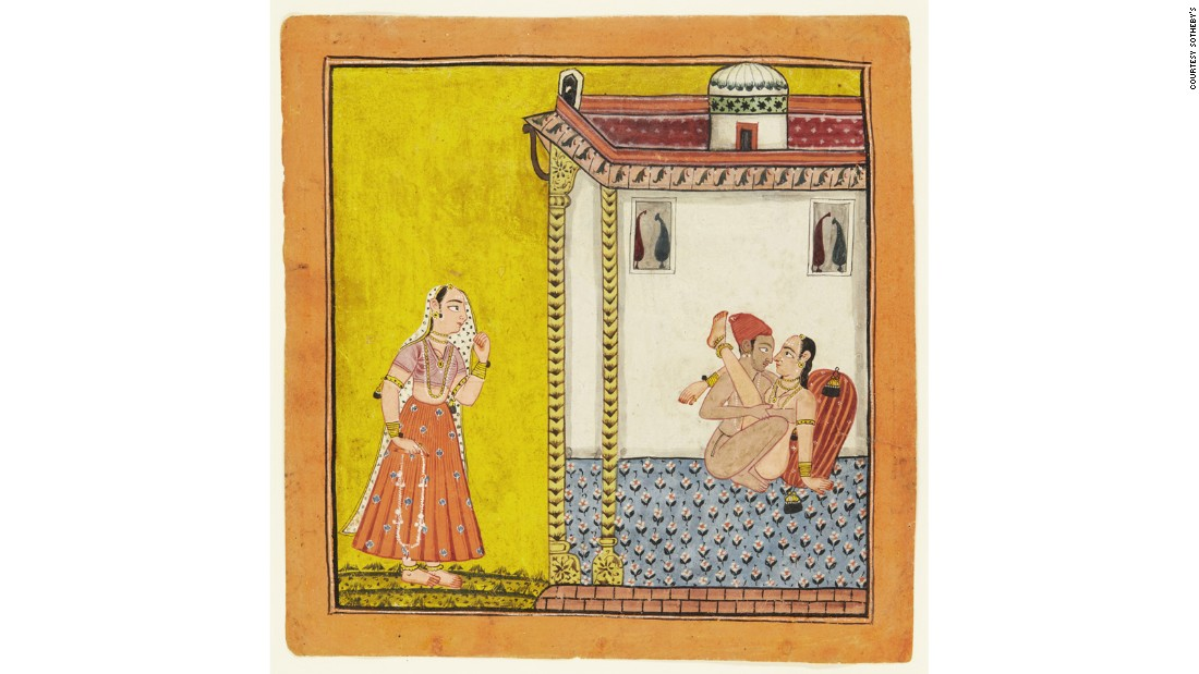 A loving couple watched by a maiden, North India (c. 1700-40)