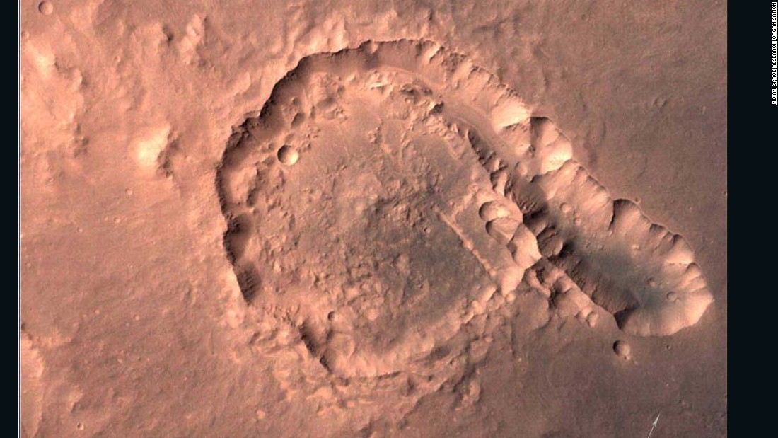 This image taken in April 2015 shows the Pital Crater.