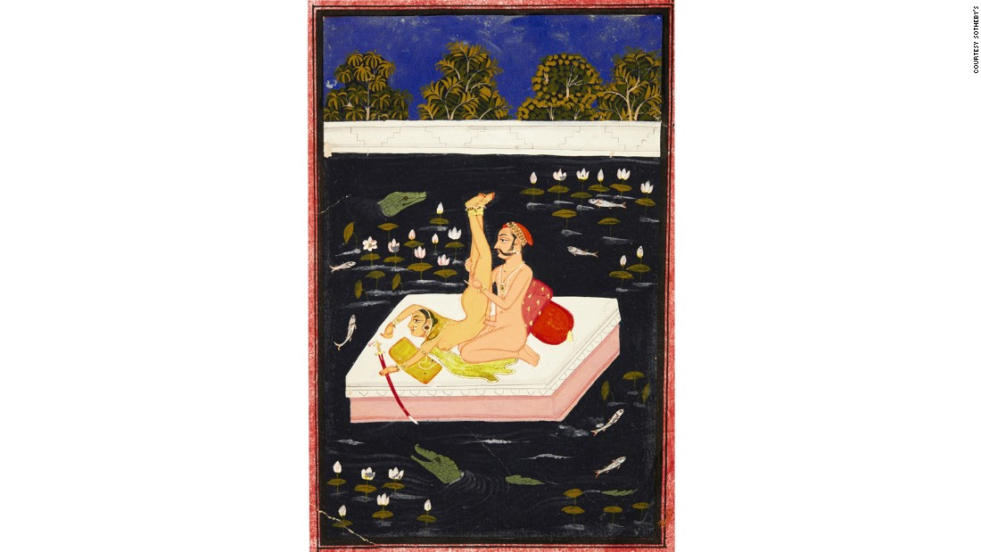 A couple making acrobatic love on a lake, North India (c. 18th century)