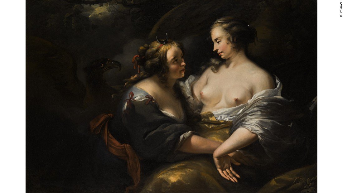 """Jupiter Disguised as Diana Seducing the Nymph Callisto"" (1727) by Nicolaes Pietersz Berchem and studio"