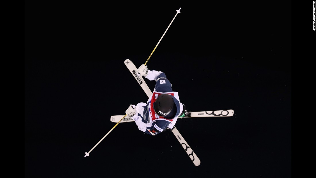 Finnish freestyle skier Jimi Salonen competes in the moguls Saturday, February 11, during the World Cup event in Pyeongchang, South Korea.