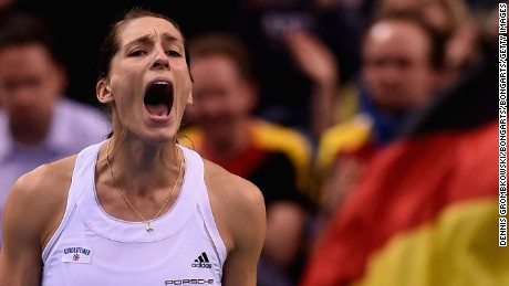 "Andrea Petkovic celebrates after her victory in her single match against Samantha Stosur of Australia during the Fed Cup 2015. The German said that the anthem mix-up in Hawaii ""the worst thing that has ever happened"" to her."