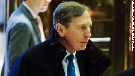 Ret. General and former CIA Director, David Petraeus, arrives for meetings with President-elect Donald Trump on November 28, 2016 at Trump Tower in New York.